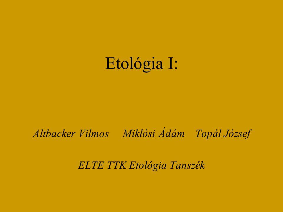 Altbacker Vilmos Miklósi Ádám Topál József ELTE TTK Etológia Tanszék