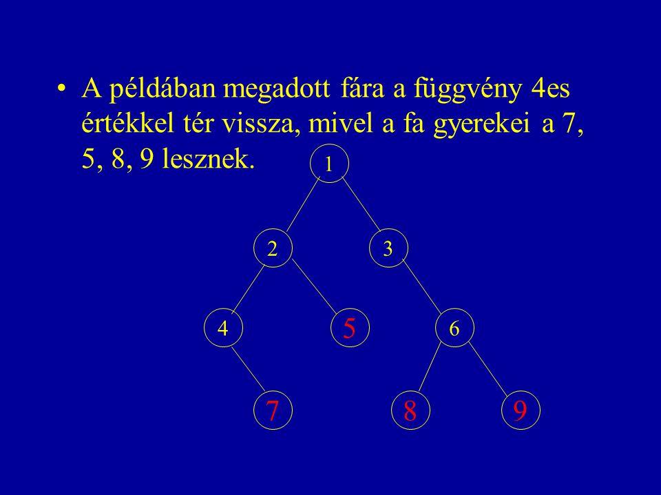 A példában megadott fára a függvény 4es értékkel tér vissza, mivel a fa gyerekei a 7, 5, 8, 9 lesznek.