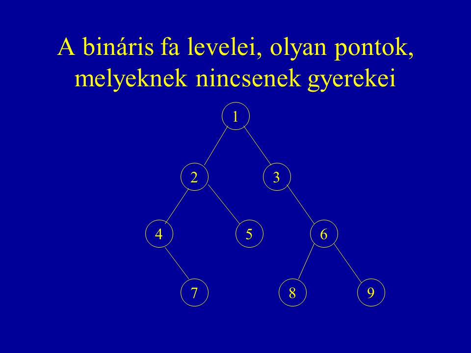 A bináris fa levelei, olyan pontok, melyeknek nincsenek gyerekei