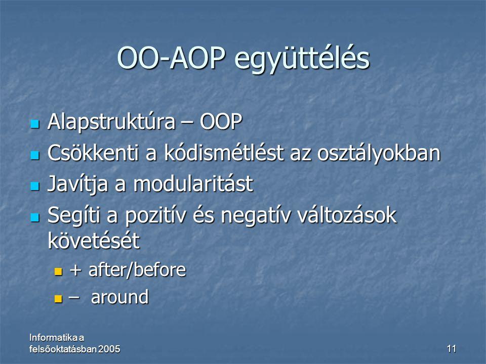 OO-AOP együttélés Alapstruktúra – OOP