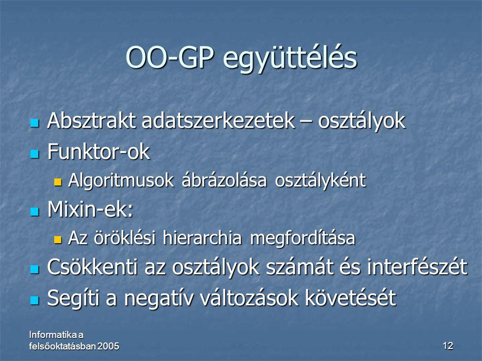 OO-GP együttélés Absztrakt adatszerkezetek – osztályok Funktor-ok