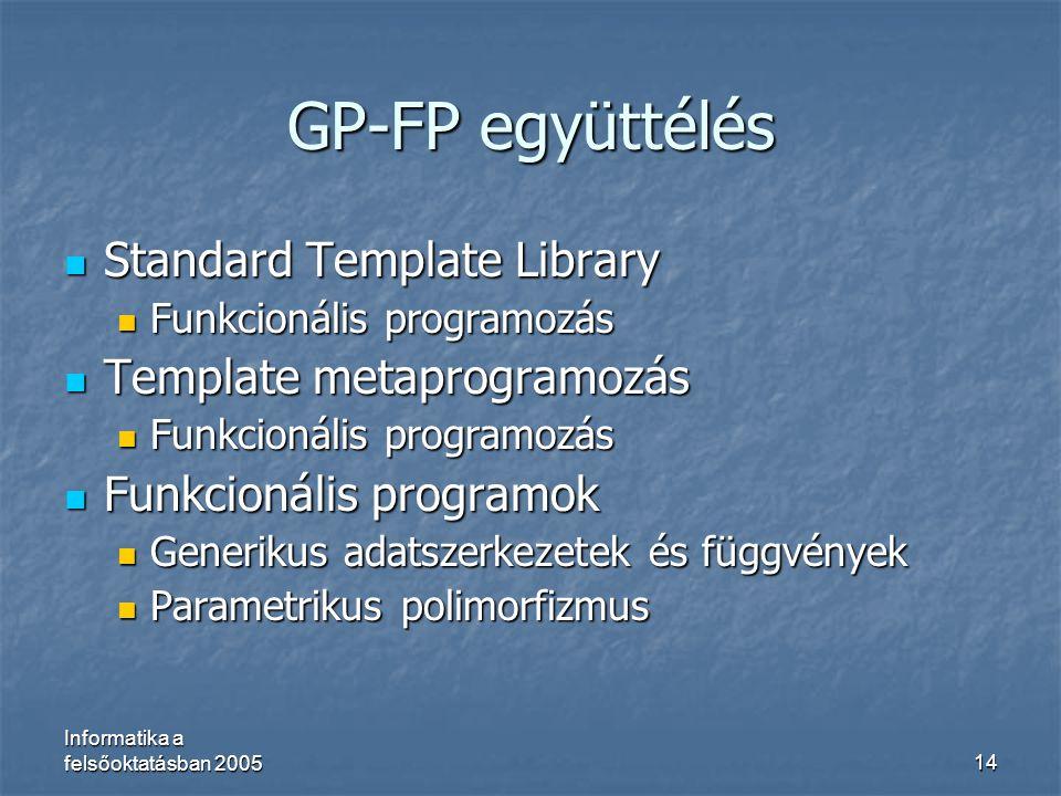 GP-FP együttélés Standard Template Library Template metaprogramozás