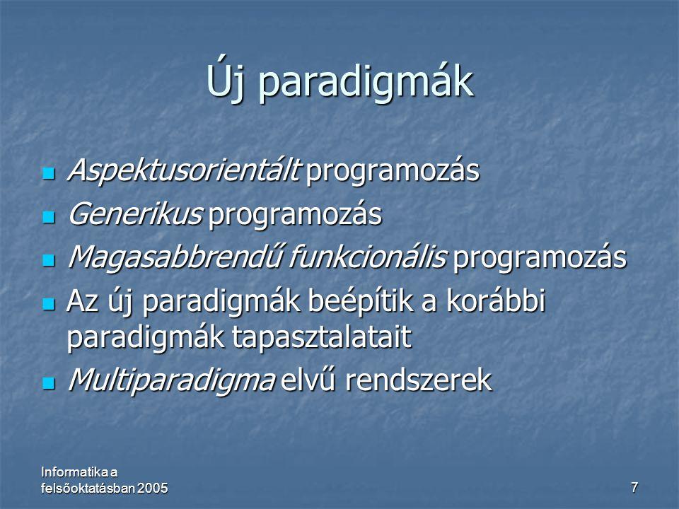 Új paradigmák Aspektusorientált programozás Generikus programozás