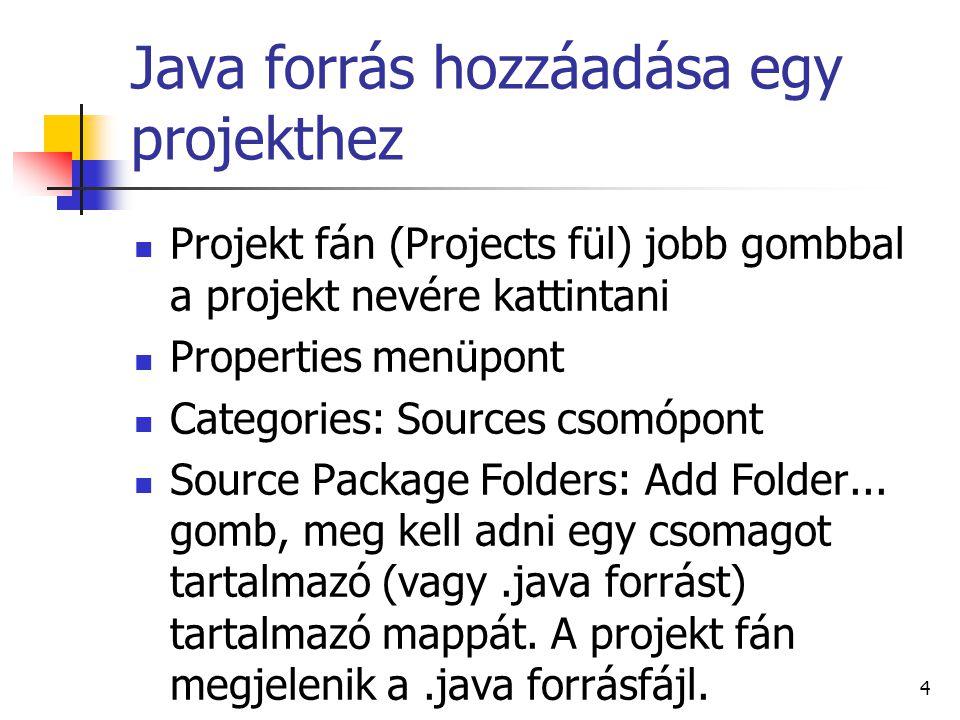 Java forrás hozzáadása egy projekthez