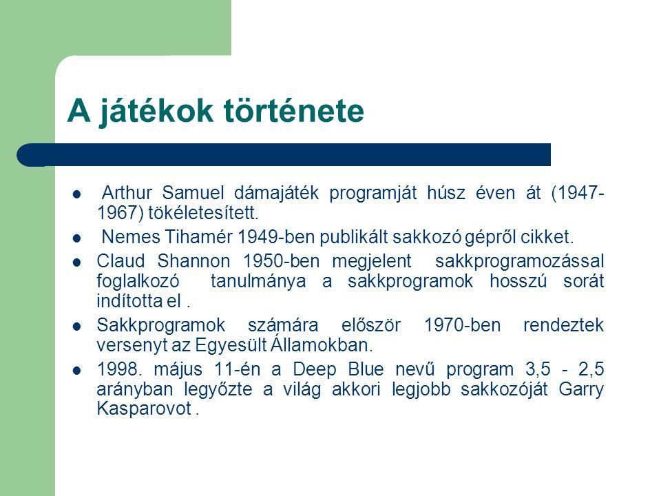 A játékok története Arthur Samuel dámajáték programját húsz éven át (1947-1967) tökéletesített.