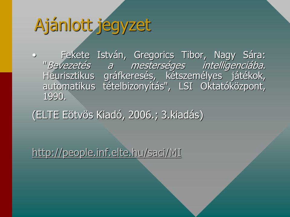 Ajánlott jegyzet (ELTE Eötvös Kiadó, 2006.; 3.kiadás)