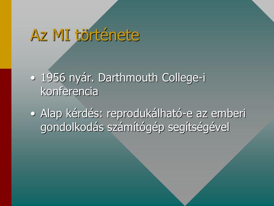 Az MI története 1956 nyár. Darthmouth College-i konferencia