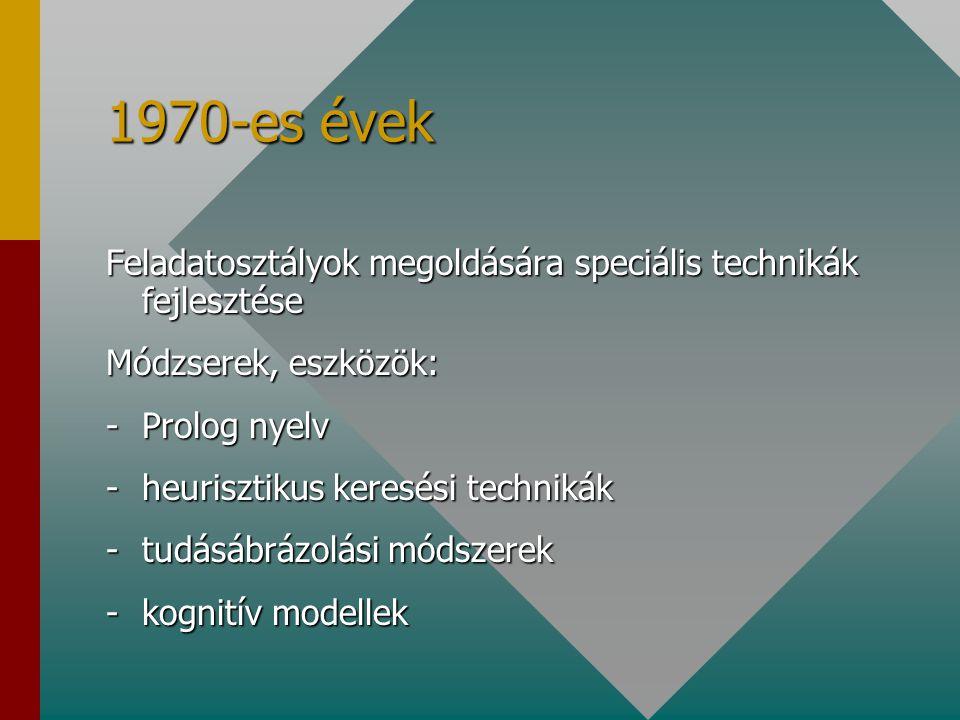 1970-es évek Feladatosztályok megoldására speciális technikák fejlesztése. Módzserek, eszközök: Prolog nyelv.
