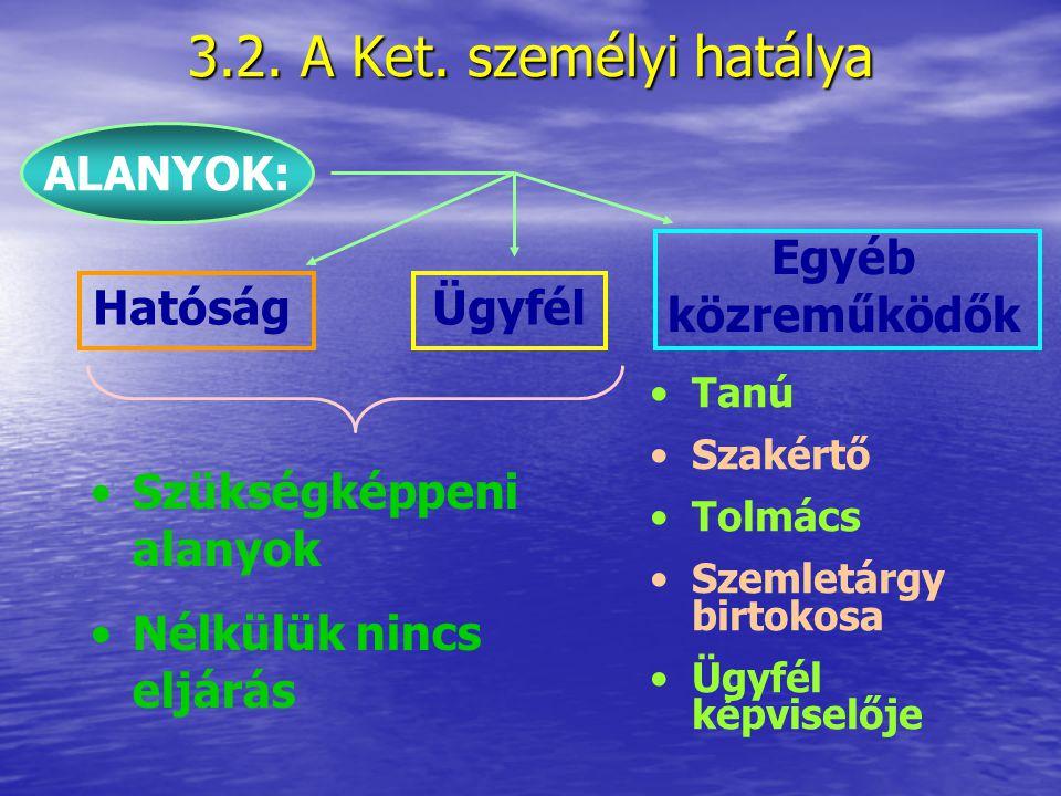 3.2. A Ket. személyi hatálya ALANYOK: Egyéb közreműködők Hatóság