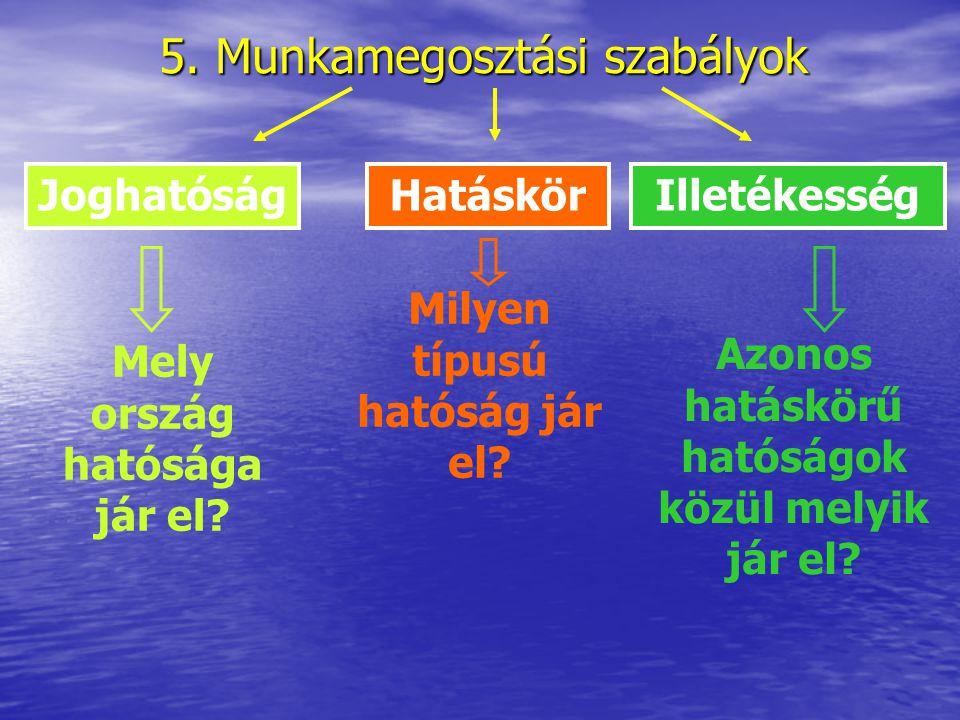 5. Munkamegosztási szabályok