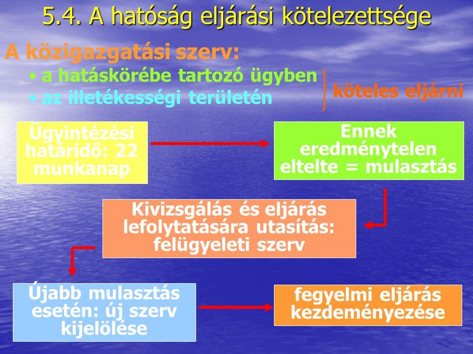 5.4. A hatóság eljárási kötelezettsége