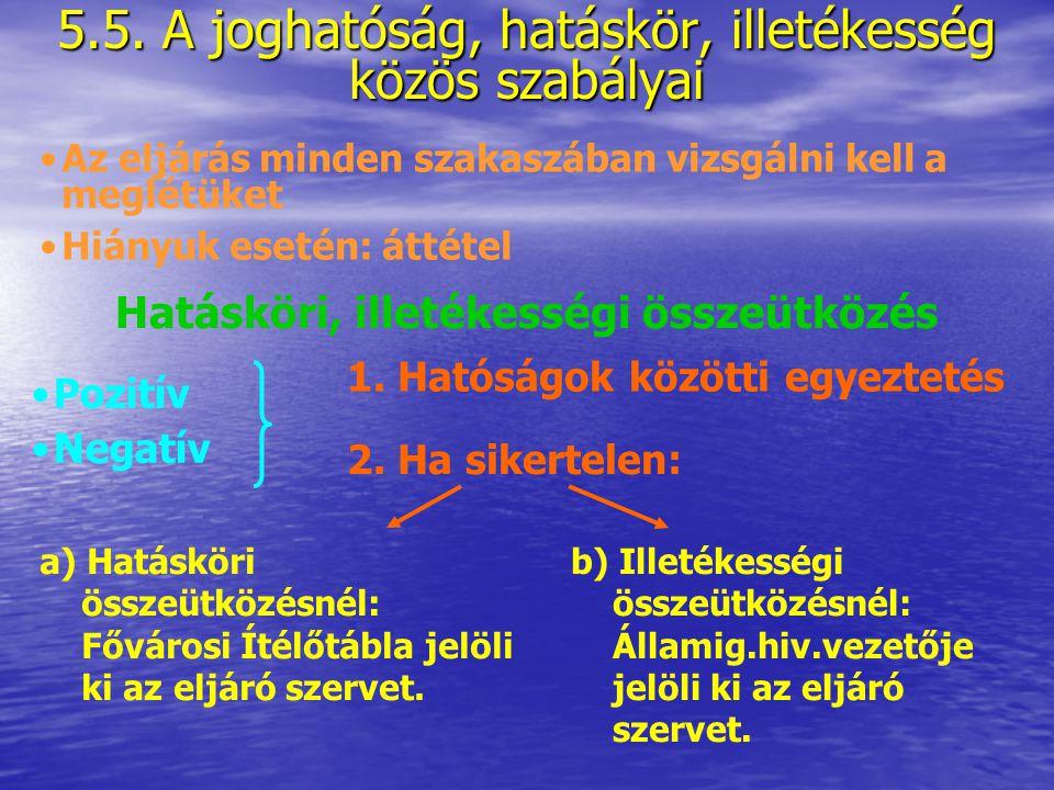 5.5. A joghatóság, hatáskör, illetékesség közös szabályai