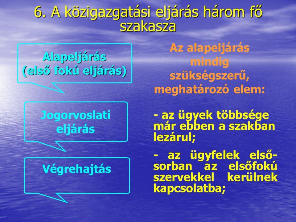 6. A közigazgatási eljárás három fő szakasza