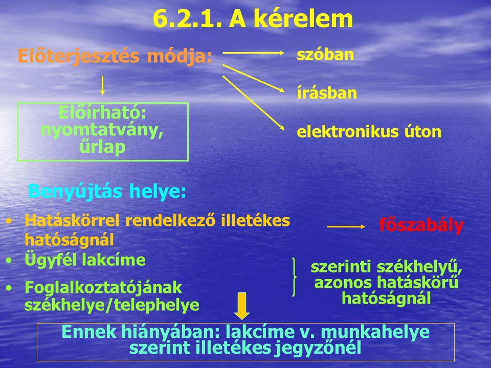 6.2.1. A kérelem Előterjesztés módja: Benyújtás helye: