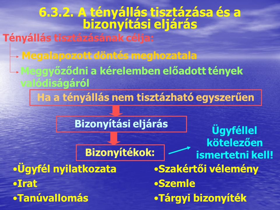 6.3.2. A tényállás tisztázása és a bizonyítási eljárás
