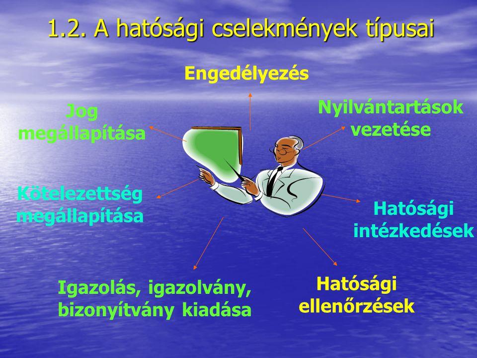 1.2. A hatósági cselekmények típusai