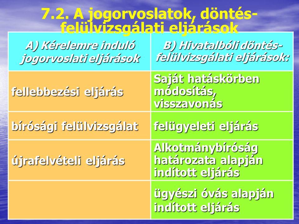 7.2. A jogorvoslatok, döntés-felülvizsgálati eljárások
