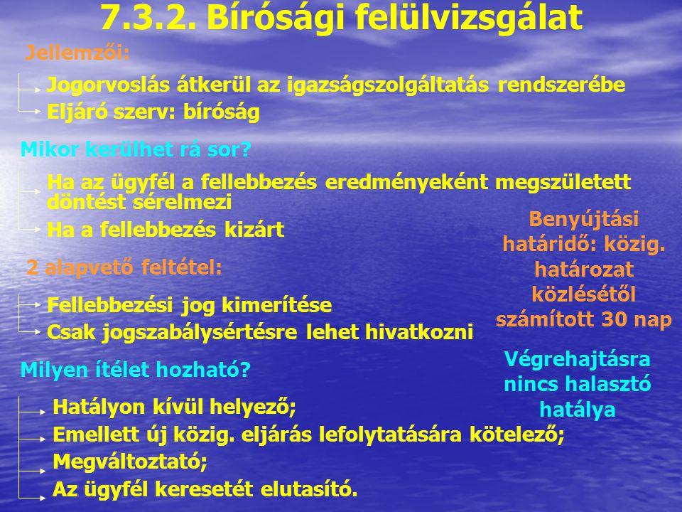 7.3.2. Bírósági felülvizsgálat