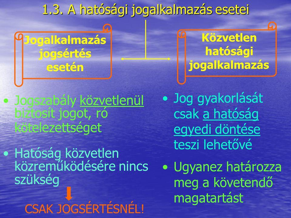1.3. A hatósági jogalkalmazás esetei