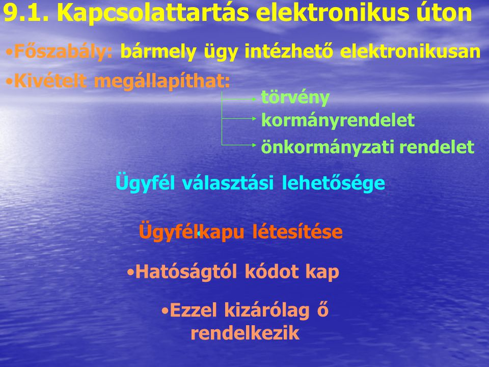9.1. Kapcsolattartás elektronikus úton