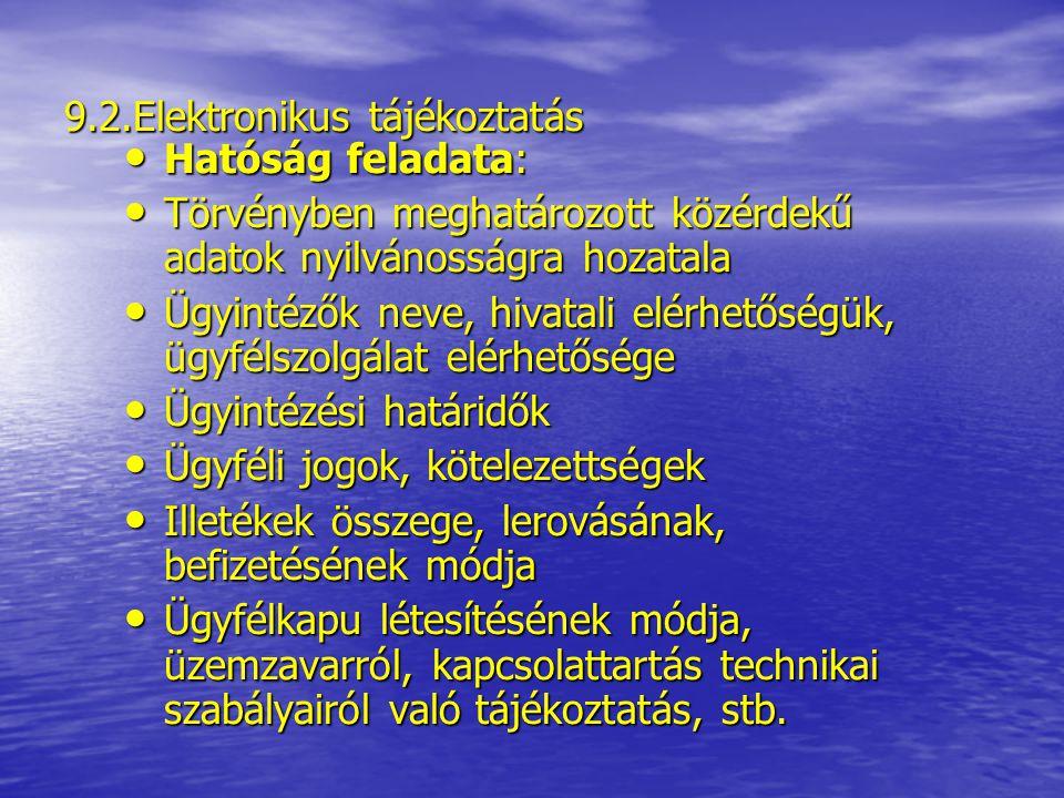 9.2.Elektronikus tájékoztatás