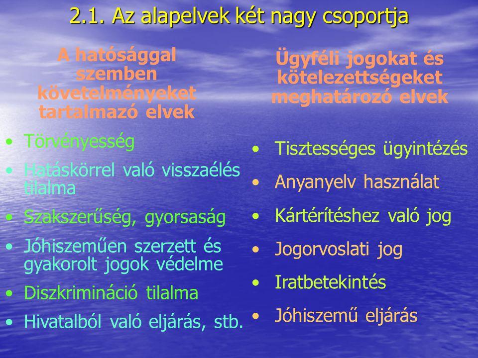 2.1. Az alapelvek két nagy csoportja