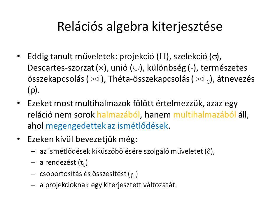 Relációs algebra kiterjesztése