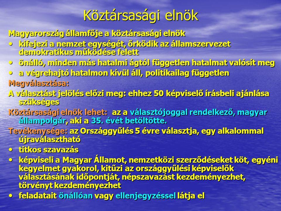 Köztársasági elnök Magyarország államfője a köztársasági elnök