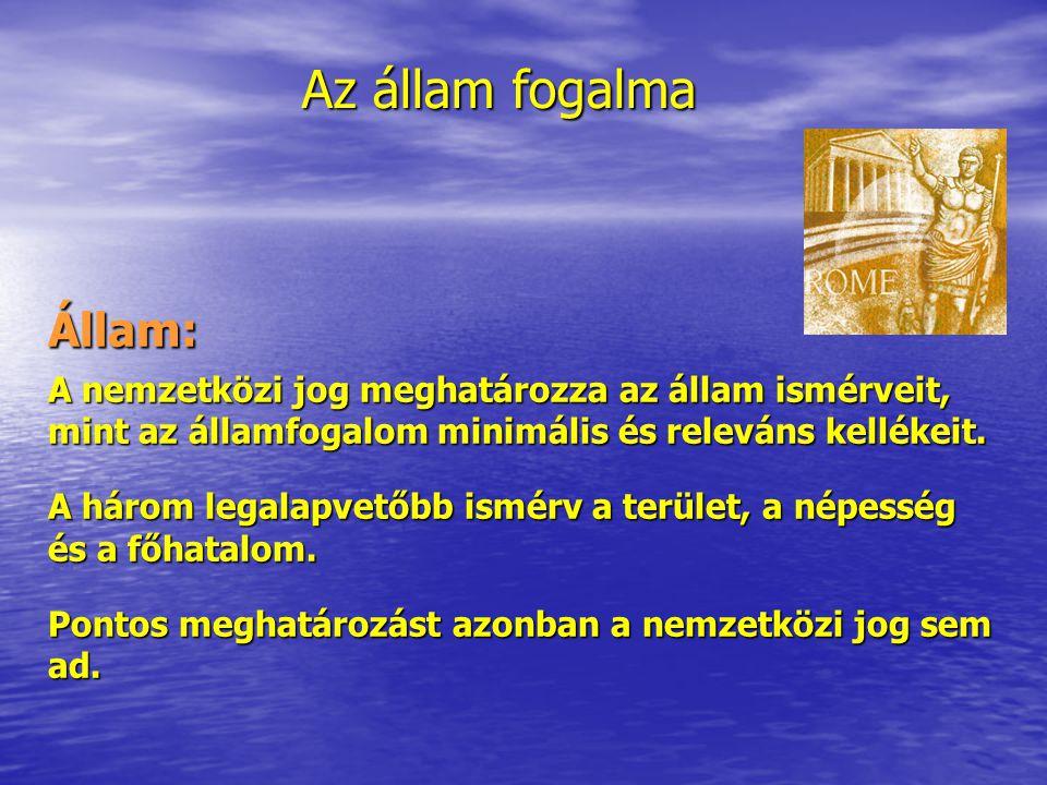 Az állam fogalma Állam: