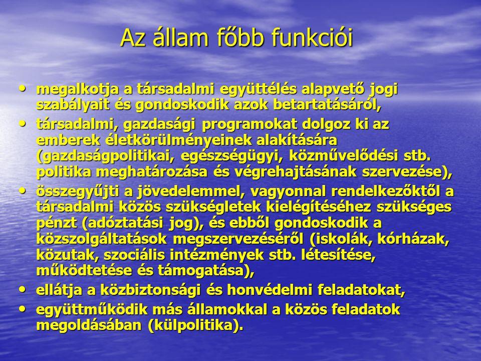 Az állam főbb funkciói megalkotja a társadalmi együttélés alapvető jogi szabályait és gondoskodik azok betartatásáról,