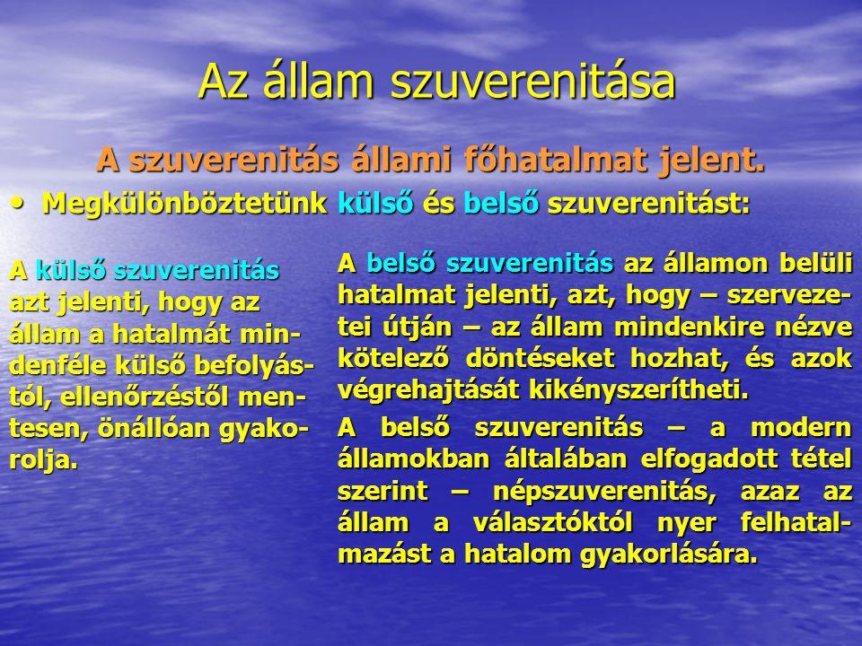 A szuverenitás állami főhatalmat jelent.