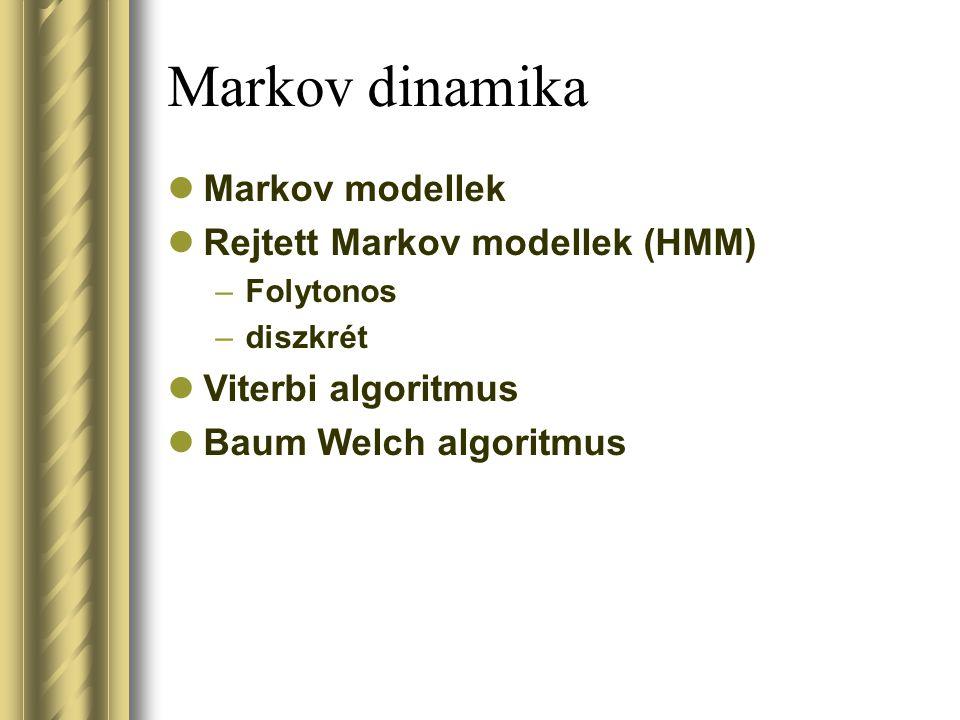 Markov dinamika Markov modellek Rejtett Markov modellek (HMM)