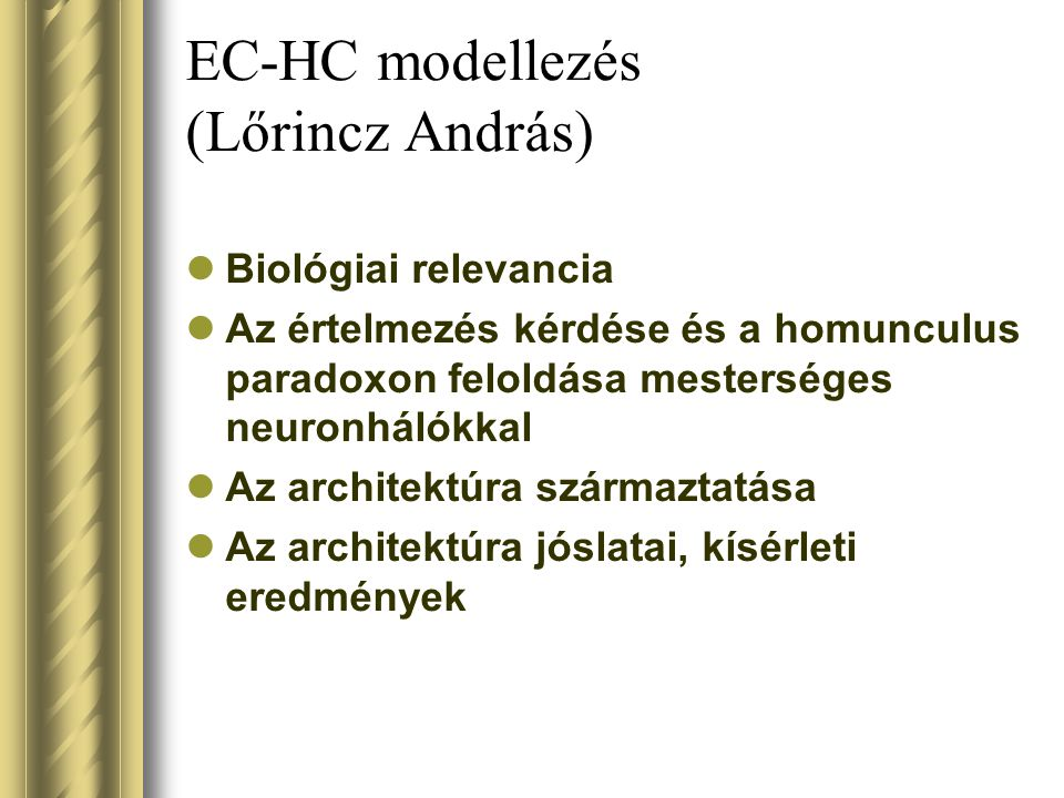 EC-HC modellezés (Lőrincz András)