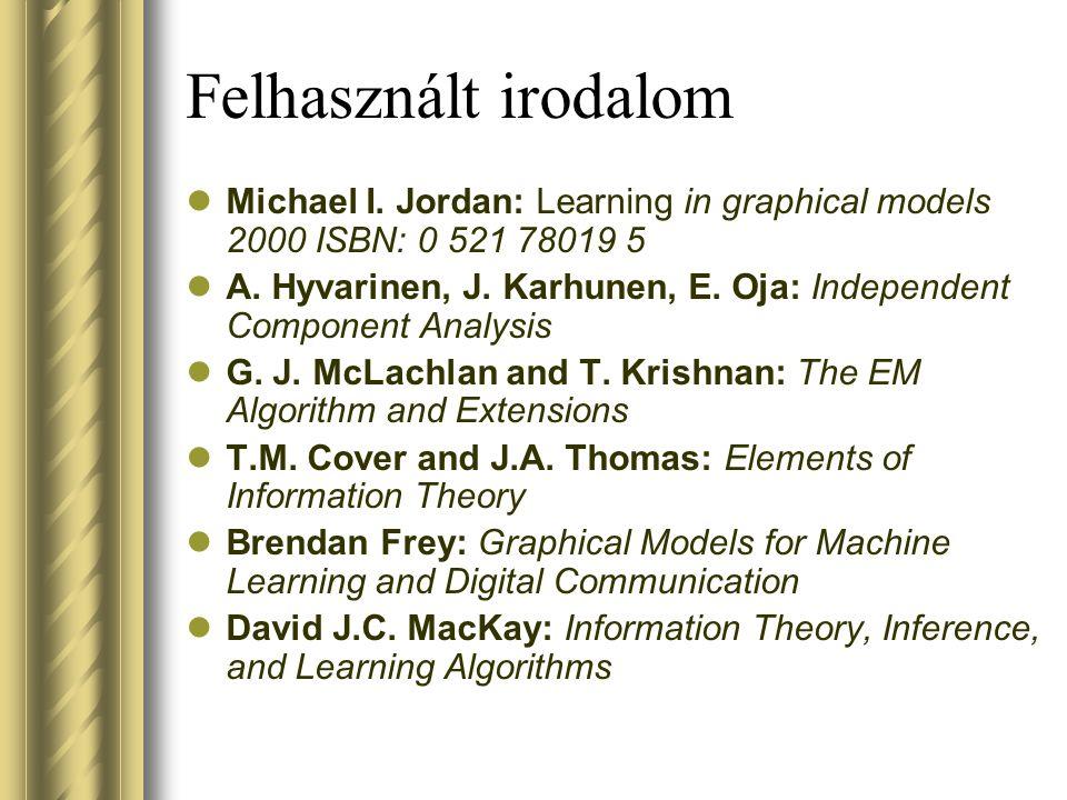 Felhasznált irodalom Michael I. Jordan: Learning in graphical models 2000 ISBN: 0 521 78019 5.