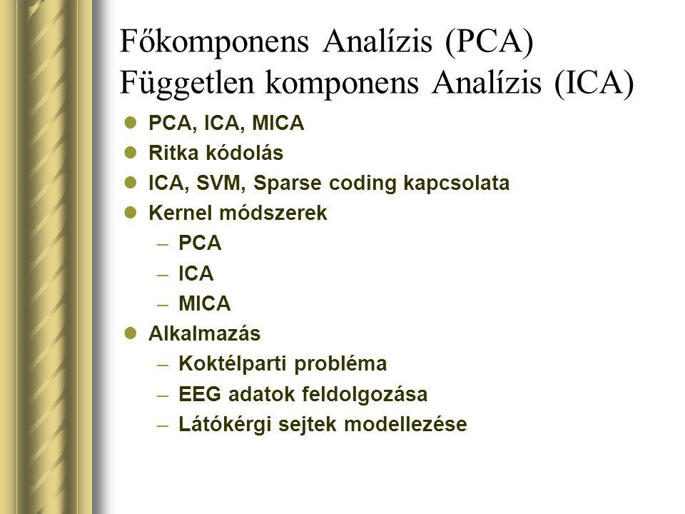 Főkomponens Analízis (PCA) Független komponens Analízis (ICA)