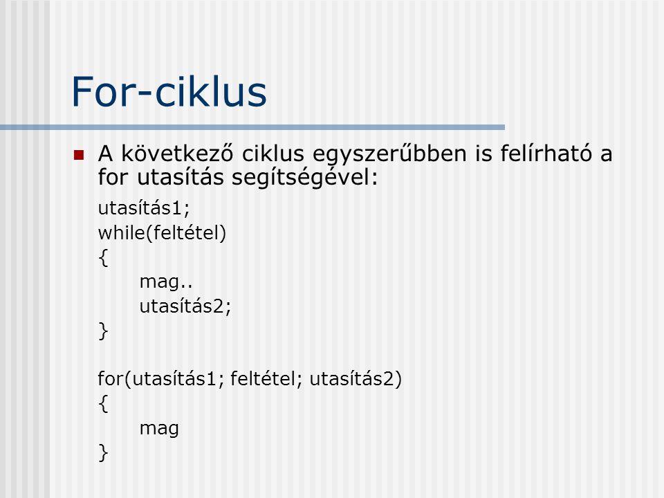 For-ciklus A következő ciklus egyszerűbben is felírható a for utasítás segítségével: utasítás1; while(feltétel)