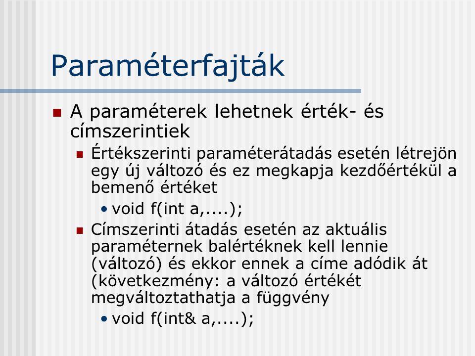 Paraméterfajták A paraméterek lehetnek érték- és címszerintiek