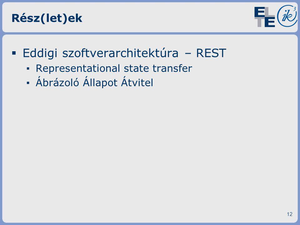 Eddigi szoftverarchitektúra – REST