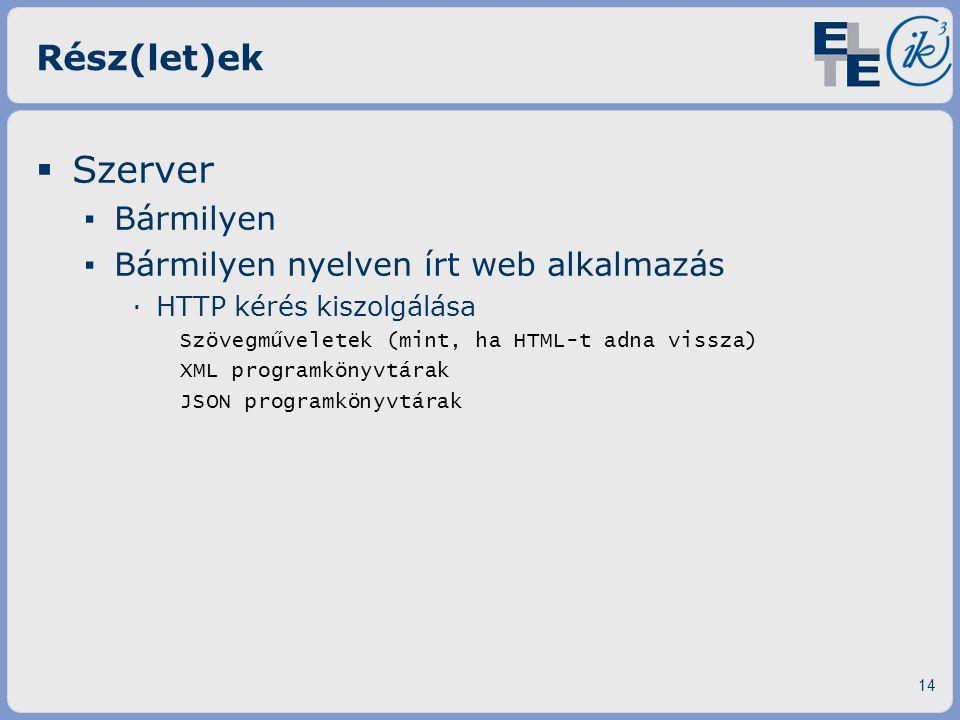 Szerver Rész(let)ek Bármilyen Bármilyen nyelven írt web alkalmazás