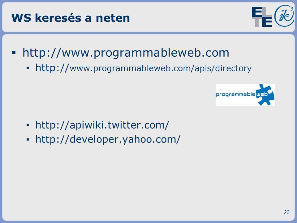 http://www.programmableweb.com WS keresés a neten