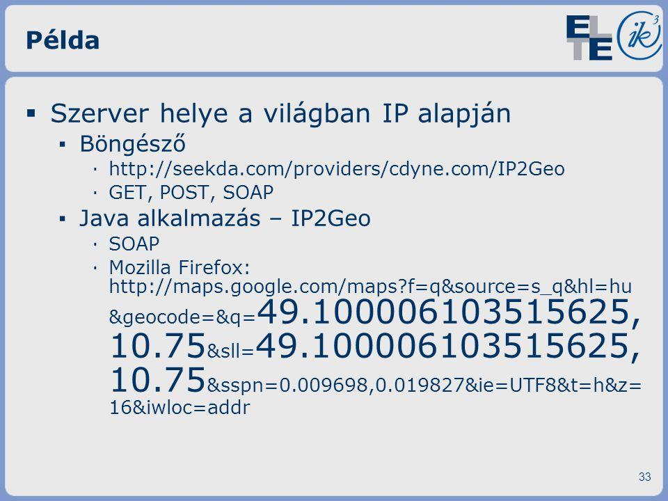 Szerver helye a világban IP alapján