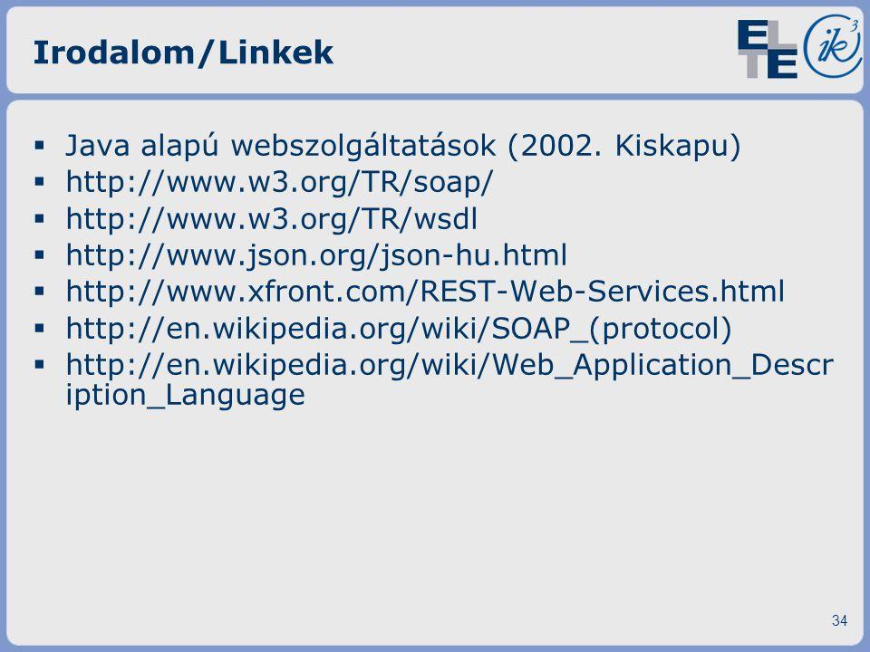 Irodalom/Linkek Java alapú webszolgáltatások (2002. Kiskapu)