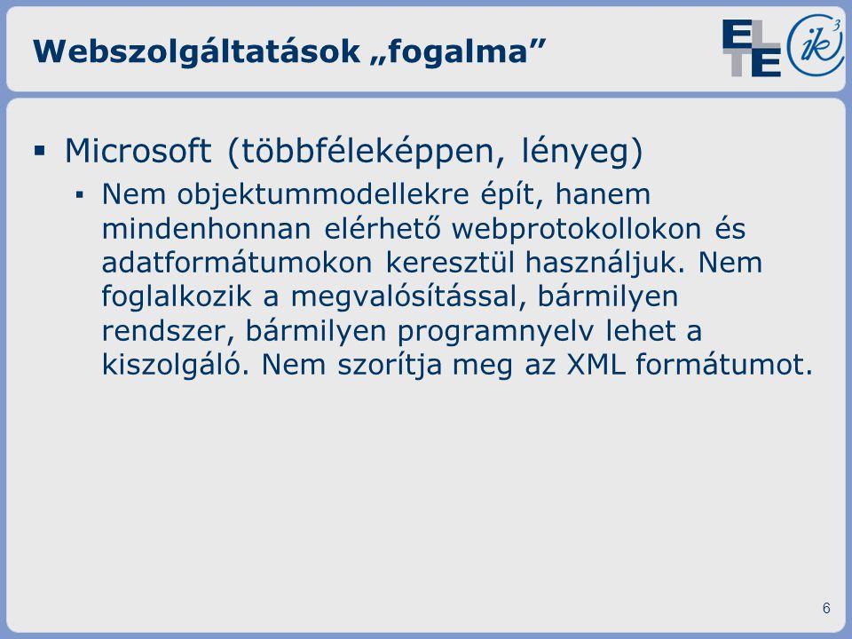"""Webszolgáltatások """"fogalma"""