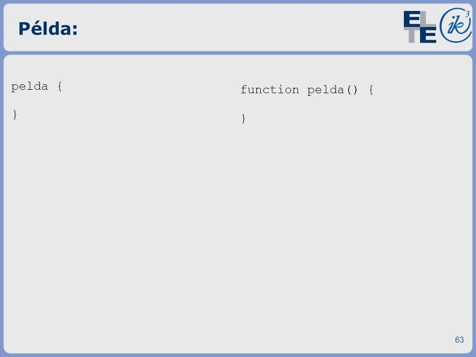 Példa: pelda { } function pelda() { }