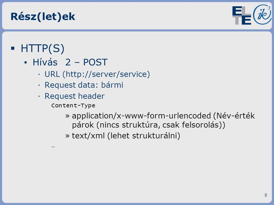 HTTP(S) Rész(let)ek Hívás 2 – POST URL (http://server/service)