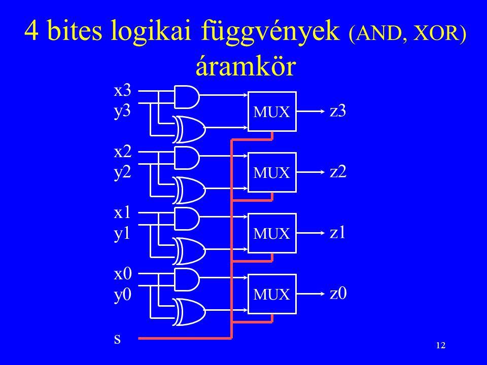 4 bites logikai függvények (AND, XOR) áramkör
