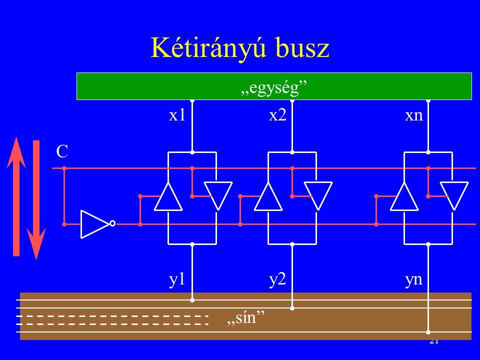 """Kétirányú busz """"egység x1 x2 xn C y1 y2 yn """"sín"""