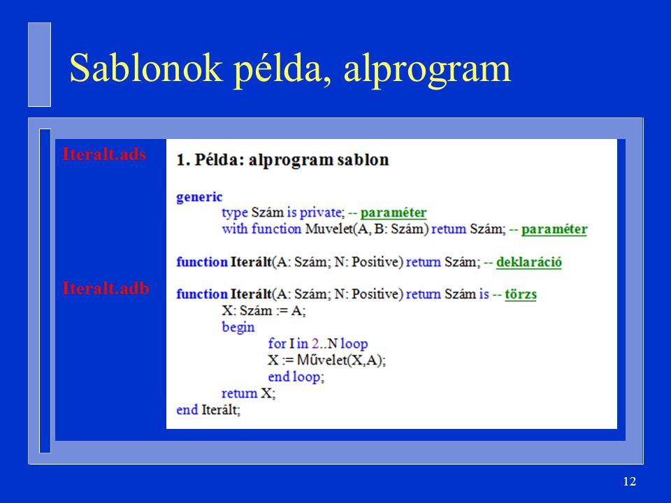 Sablonok példa, alprogram