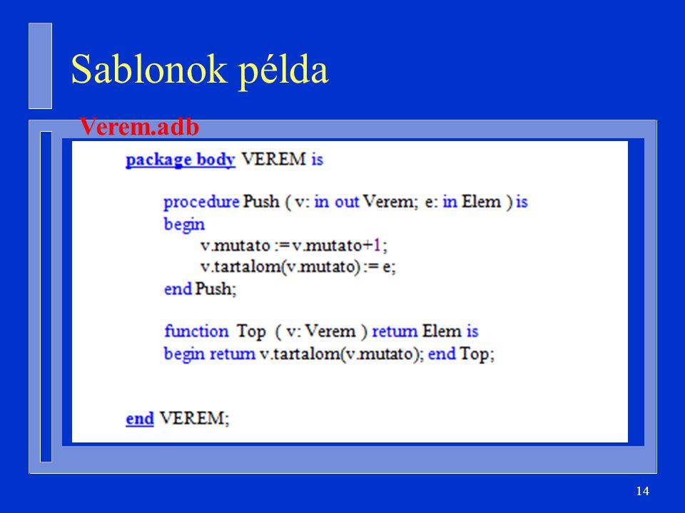 Sablonok példa Verem.adb