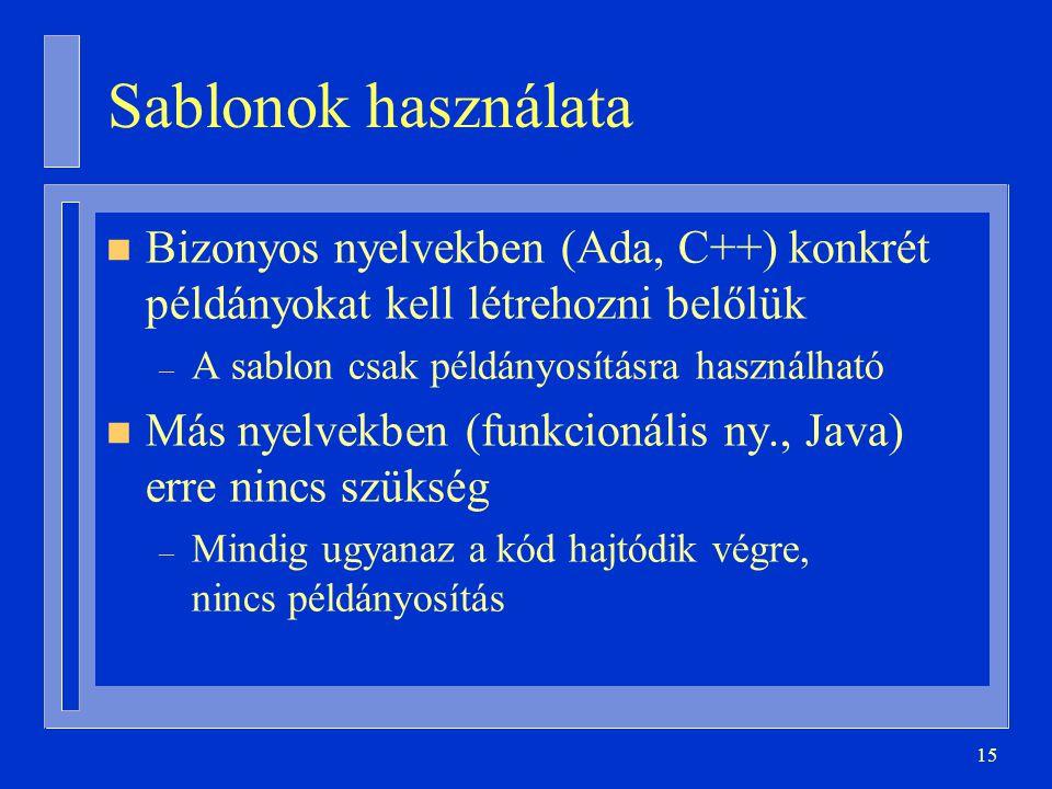 Sablonok használata Bizonyos nyelvekben (Ada, C++) konkrét példányokat kell létrehozni belőlük. A sablon csak példányosításra használható.